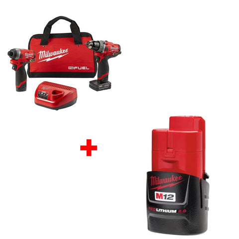 Milwaukee 2598-22 M12 2-Tool Combo Kit W/ FREE 48-11-2420 M12 2.0 Battery Pack