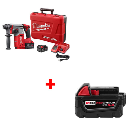 "Milwaukee 2712-22 M18 FUEL 1"" SDS Plus Rotary Hammer Kit with FREE 5.0 BATTERY"