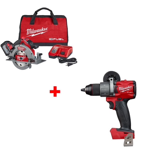 "Milwaukee 2732-21HD M18 7-1/4"" Circ Saw Kit w/ FREE 2804-20 1/2"" Hammer Drill"