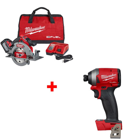 "Milwaukee 2732-21HD M18 7-1/4"" Circ Saw Kit w/ FREE 2853-20 1/4"" Impact Driver"