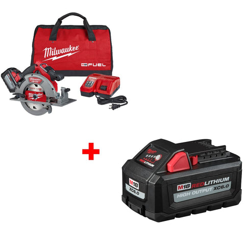 "Milwaukee 2732-21HD M18 7-1/4"" Circ Saw Kit w/ FREE 48-11-1865 M18 Battery Pack"