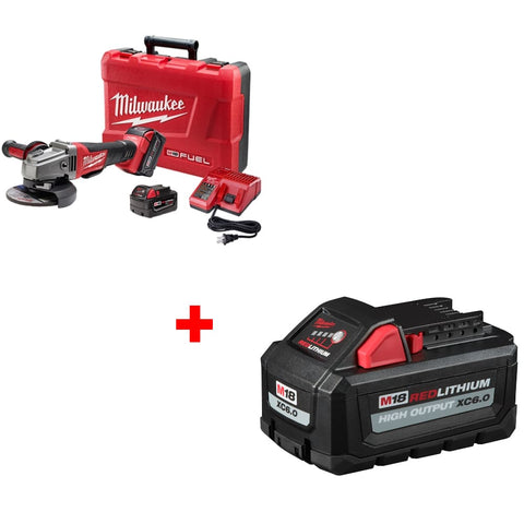 "Milwaukee 2780-22 M18 4-1/2-5"" Grinder Kit w/ FREE 48-11-1865 XC6.0 Battery Pack"