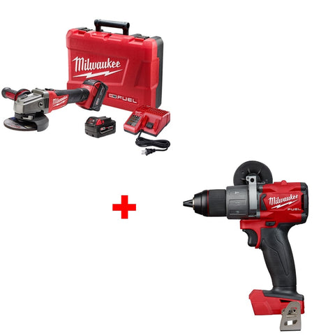 "Milwaukee 2781-22 M18 4-1/2 - 5"" Grinder Kit w/ Free 2804-20 1/2"" Hammer Drill"