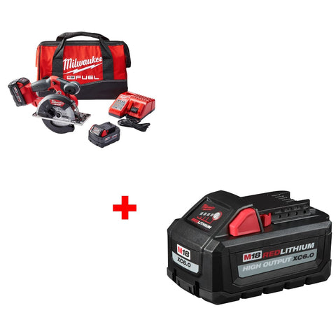 "Milwaukee 2782-22 M18 5-3/8""-5-7/8"" Circ Saw Kit w/ FREE 48-11-1865 Battery Pack"