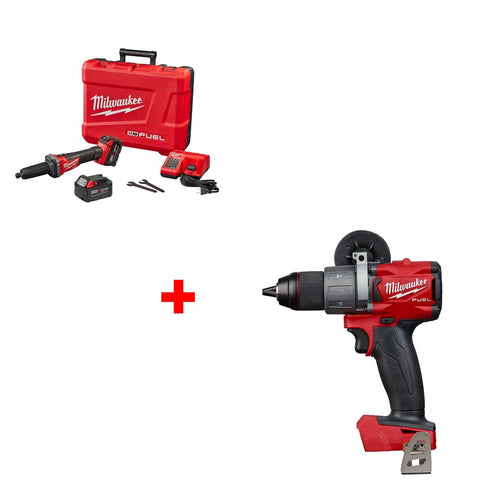 "Milwaukee 2784-22 M18 1/4"" Die Grinder Kit w/ FREE 2804-20 1/2"" Hammer Drill"
