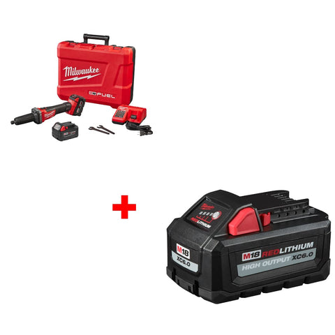 "Milwaukee 2784-22 M18 1/4"" Die Grinder Kit w/ FREE 48-11-1865 M18 Battery Pack"