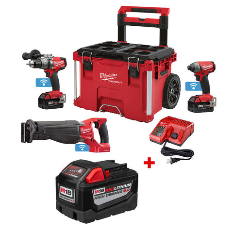 Milwaukee 2796-22PO M18 FUEL ONEKEY 2 Piece Combo Kit with FREE Sawzall,Rolling Case and Battery