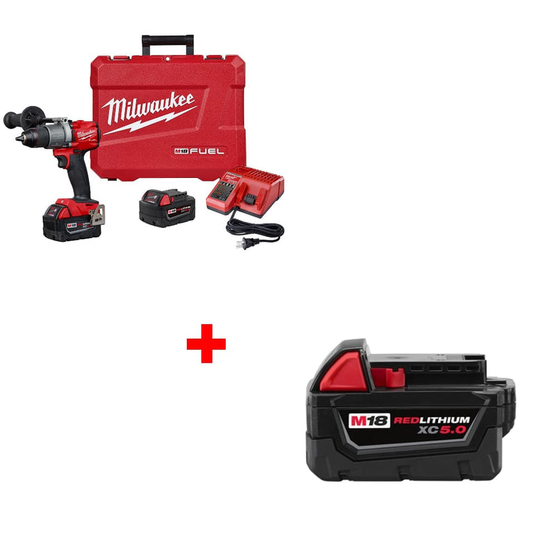 "Milwaukee 2803-22 M18 1/2"" Drill Driver Kit w/ FREE 48-11-1850 XC5.0 Battery"