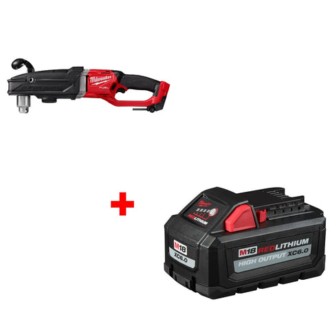 "Milwaukee 2809-20 1/2"" Right Angle Drill w/ FREE 48-11-1865 XC6.0 Battery Pack"