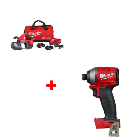 "Milwaukee 2829-22 M18 Band Saw Kit w/ FREE 2853-20 1/4"" Hex Impact Driver, Bare"