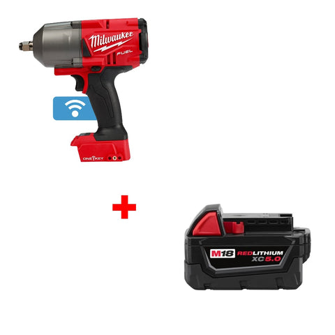 "Milwaukee 2863-20 M18 1/2"" Impact Wrench w/ FREE 48-11-1850 XC5.0 Battery Pack"