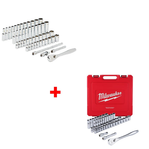 Milwaukee 48-22-9004 50Pc Ratchet & Socket Set, 48-22-9010 47pc Wrench Set