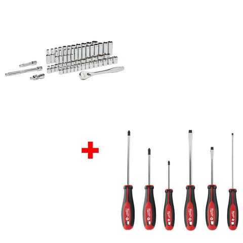Milwaukee 48-22-9008 56Pc Ratchet & Socket Set, 48-22-2706 6Pc Screwdriver Kit