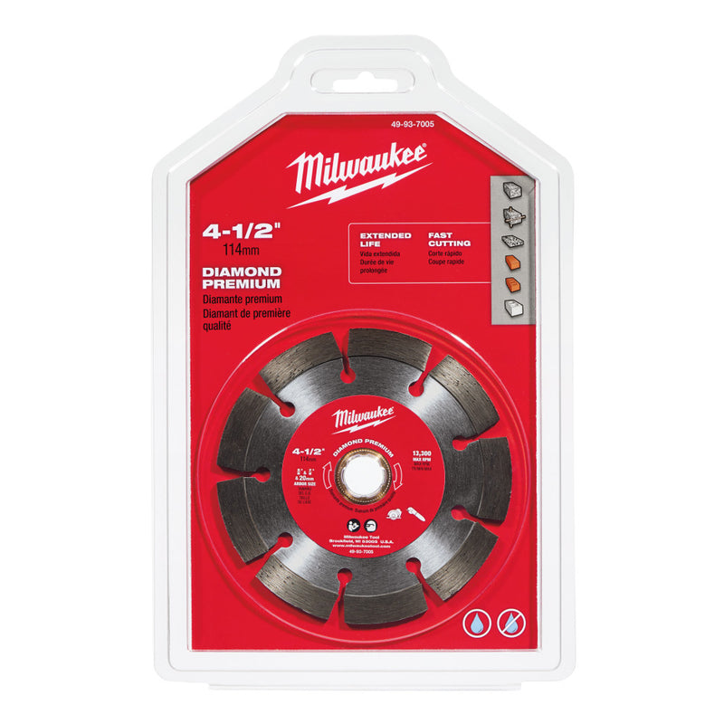 "Milwaukee 49-93-7005 4 1/2"" Diamond Premium Segmented Saw Blade"
