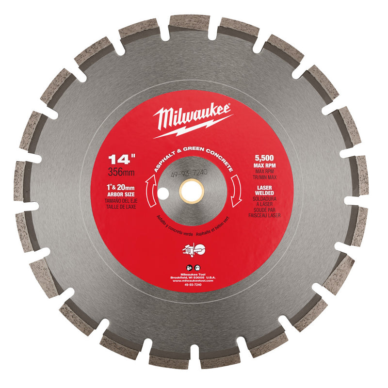 "Milwaukee 49-93-7240 14"" Asphalt & Green Concrete Segmented Saw Blade"