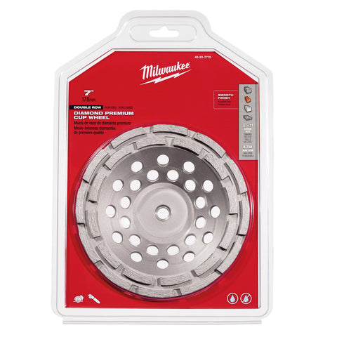 "Milwaukee 49-93-7770 7"" Diamond Cup Wheel Double Rim"