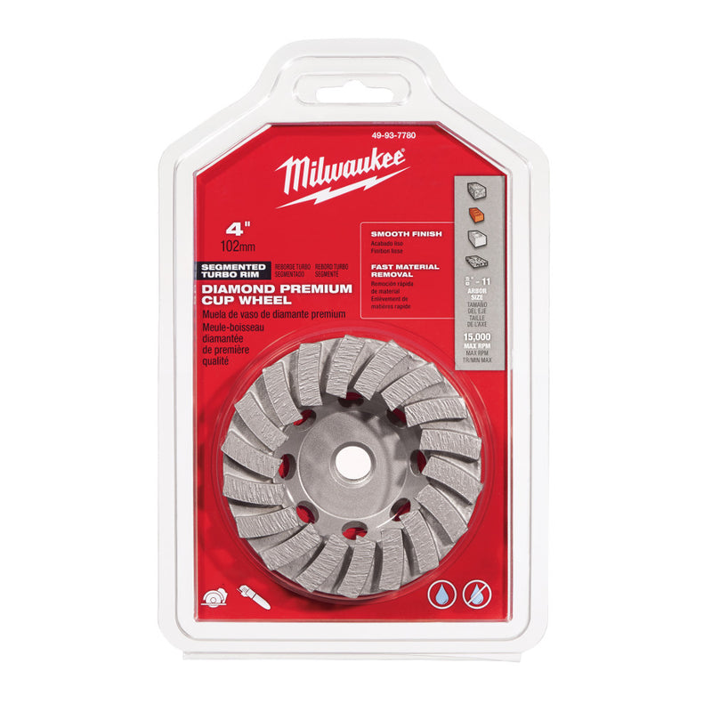 "Milwaukee 49-93-7780 4"" Diamond Cup Wheel Segmented-Turbo"