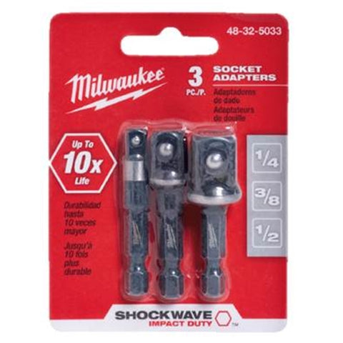 Milwaukee 48-32-5033 3PC Socket Adapter (1/4, 3/8, 1/2)