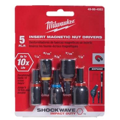"Milwaukee 49-66-4563 5PK 1"" Insert Nut Drivers"
