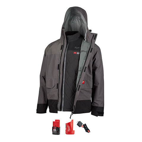 Milwaukee 203RN-213X M12 Heated Axis Layering System w/Hydrobreak Rainshell Kit 3X-Large, Gray