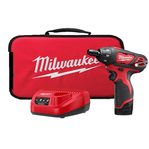 "Milwaukee 2401-21 M12 1/4"" Hex Screwdriver Kit with Battery and Charger"