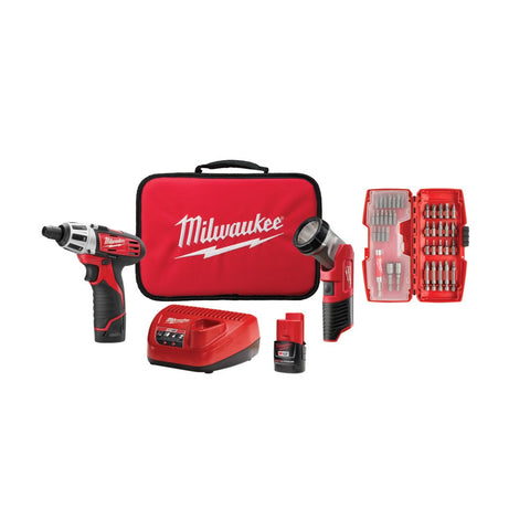 Milwaukee 2482-22 M12 Screwdriver and LED Worklight Kit with Bit Set