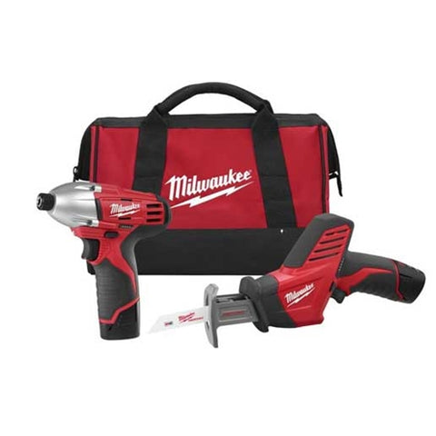 Milwaukee 2491-22 M12 12V 2-Tool Combo Kit with Impact Driver and Hackzall
