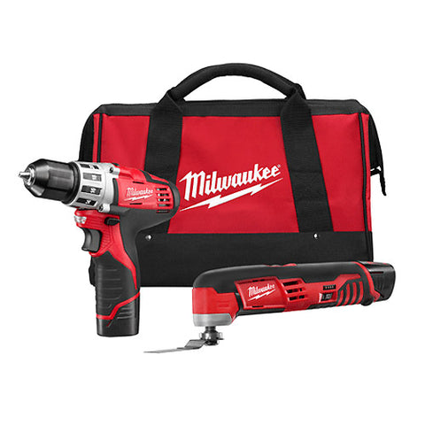 Milwaukee 2495-22S M12 2 - Tool Combo Kit with Drill & Multi-Tool with (2) 2.0Ah Batteries