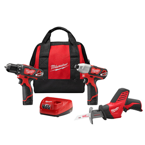 Milwaukee 2498-23 M12 12-Volt Lithium-Ion Cordless Combo Kit (3-Tool)