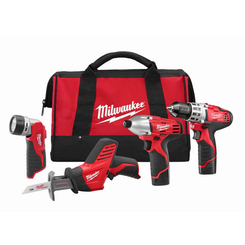 Milwaukee 2498-24 M12™ 4 - Tool Combo Kit with Drill, Impact, Hackzall™ & Flashlight