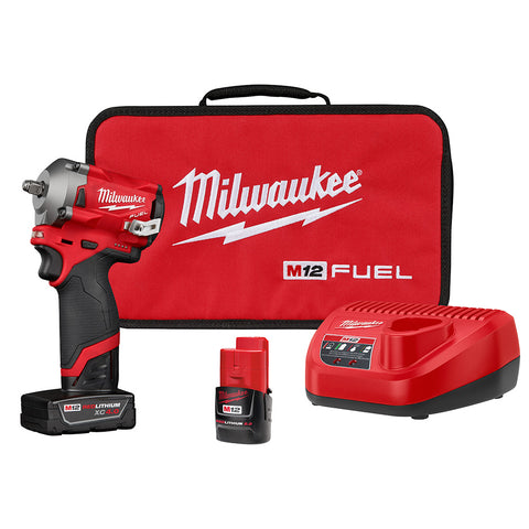 "Milwaukee 2554-22 M12 FUEL Stubby 3/8"" Impact Wrench Kit"