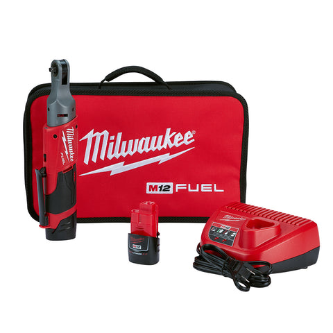"Milwaukee 2556-22 M12 FUEL 1/4"" Ratchet 2 Battery Kit"