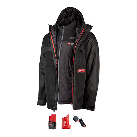 Milwaukee 255B-21S M12 Heated Axis Layering System w/Gridiron Workshell Kit Black, Small