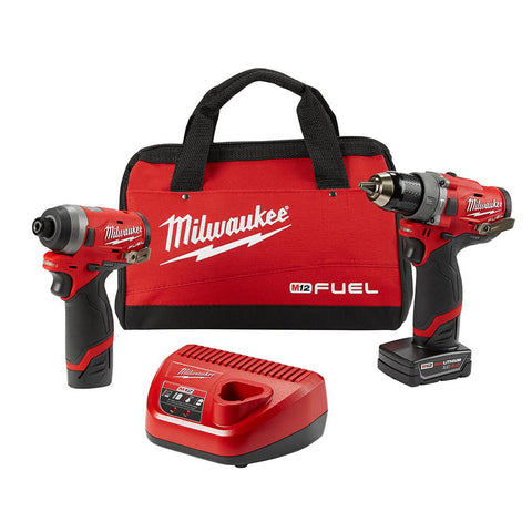 "Milwaukee 2598-22 M12 FUEL 1/2"" Hammer Drill and 1/4"" Hex Impact Driver Kit"