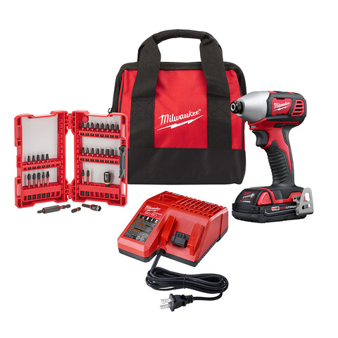 "Milwaukee 2656-21B M18 1/4"" Hex Compact Impact Driver Kit"
