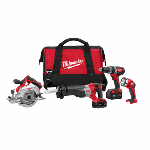 Milwaukee 2694-24 M18 4-Tool Combo Kit with Hammer Drill, Sawzall, Circular Saw, Worklight