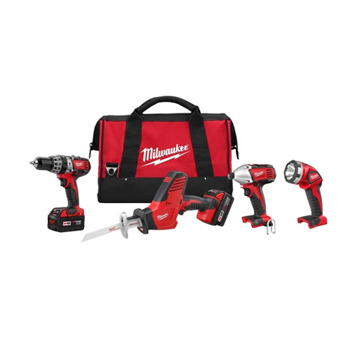 Milwaukee 2695-24 M18 Cordless Combo Compact Hammer Drill/Hackzall/1/4 Hex Impact Driver/Work Light