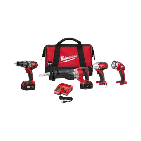 Milwaukee 2696-24 M18 Cordless Combo Compact Hammer Drill/Sawzall/1/4 Hex Impact Driver/Work Light/