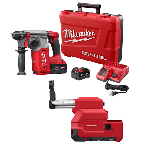 "Milwaukee 2712-22DE M18 FUEL 1"" SDS Plus Rotary Hammer, HAMMERVAC Dust Extr Kit"