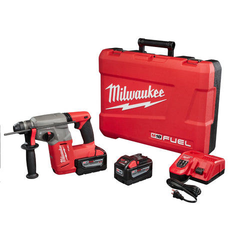 "Milwaukee 2712-22HD M18 FUEL 1"" SDS Plus Rotary Hammer HD Kit, 2 9.0 AH Battery"