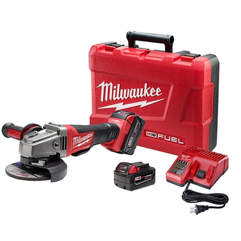 "Milwaukee 2780-22 M18 FUEL 4-1/2 - 5"" Grinder, Paddle Switch No-Lock Kit w/ 2 Batteries"