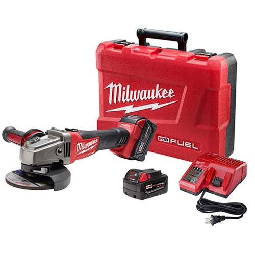 "Milwaukee 2781-22 M18 FUEL 4-1/2 - 5"" Grinder, Slide Switch Lock-On Kit w/ 2 Batteries"