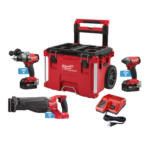 Milwaukee 2796-22PO M18 FUEL ONEKEY 2 Piece Combo Kit with FREE Sawzall and PACKOUT Rolling Case