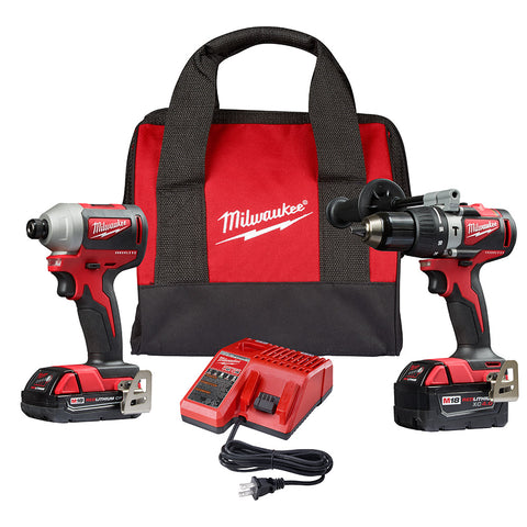 Milwaukee 2893-22CX M18 Brushless Hammer Drill/Impact Combo Kit 2.0,4.0