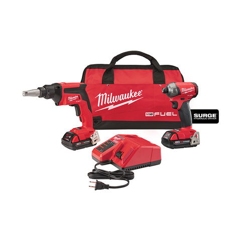 Milwaukee 2896-22CT M18 FUEL Drywall Screw Gun / Impact Combo Kit, 2.0 Compact Batteries