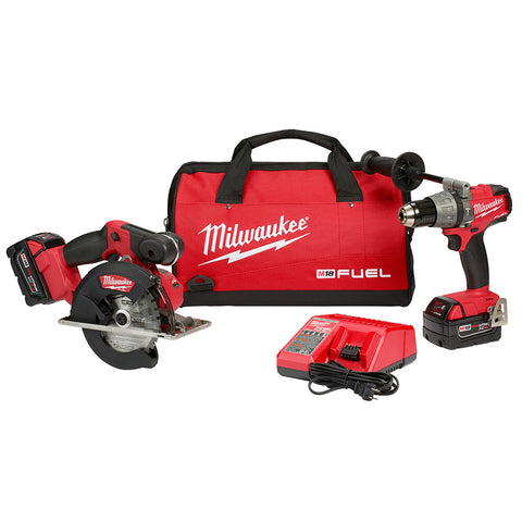 Milwaukee 2898-22 M18 FUEL Hammer Drill and Metal Circular Saw Combo Kit