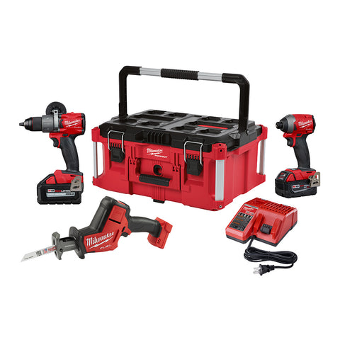 Milwaukee 2997-23PO M18 Fuel Hammer Drill, Impact, Hackzall Combo Kit with Packout Tool Box