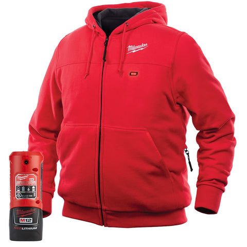 Milwaukee 302R-21L M12 Heated Hoodie Kit L, Red
