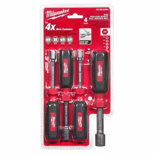 "Milwaukee 48-22-2404 4PC Hollow Shaft SAE Nut Driver Set, 1/4"" - 9/16"""