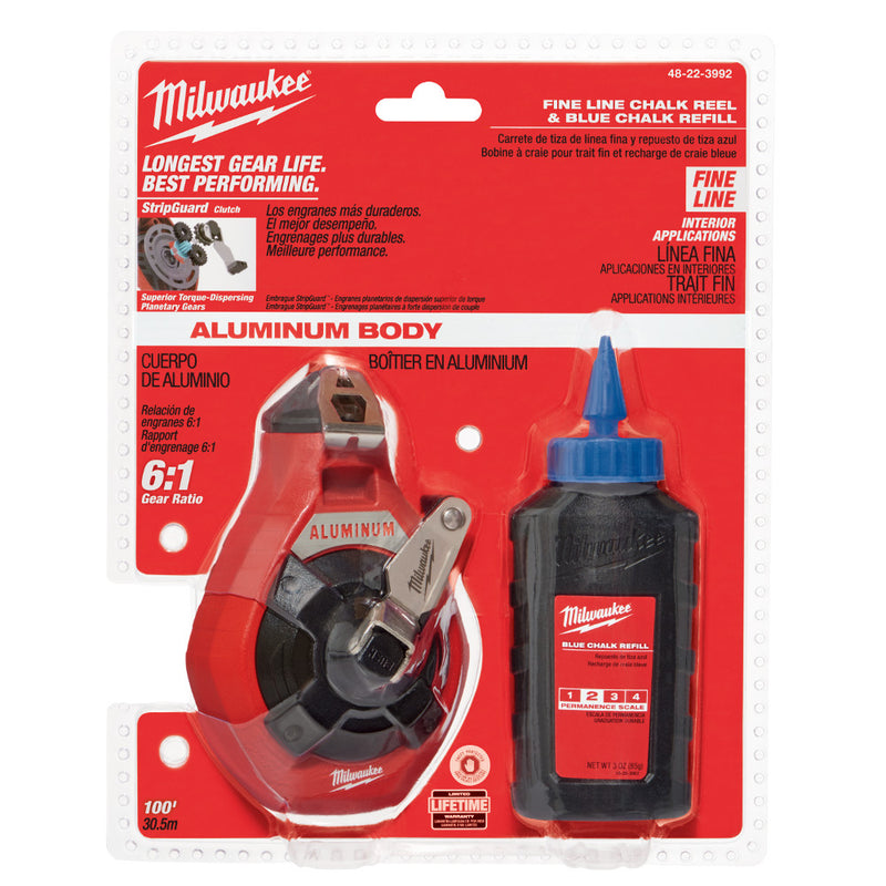 Milwaukee 48-22-3992 100' PRECISION CHALK N REEL W BLUE